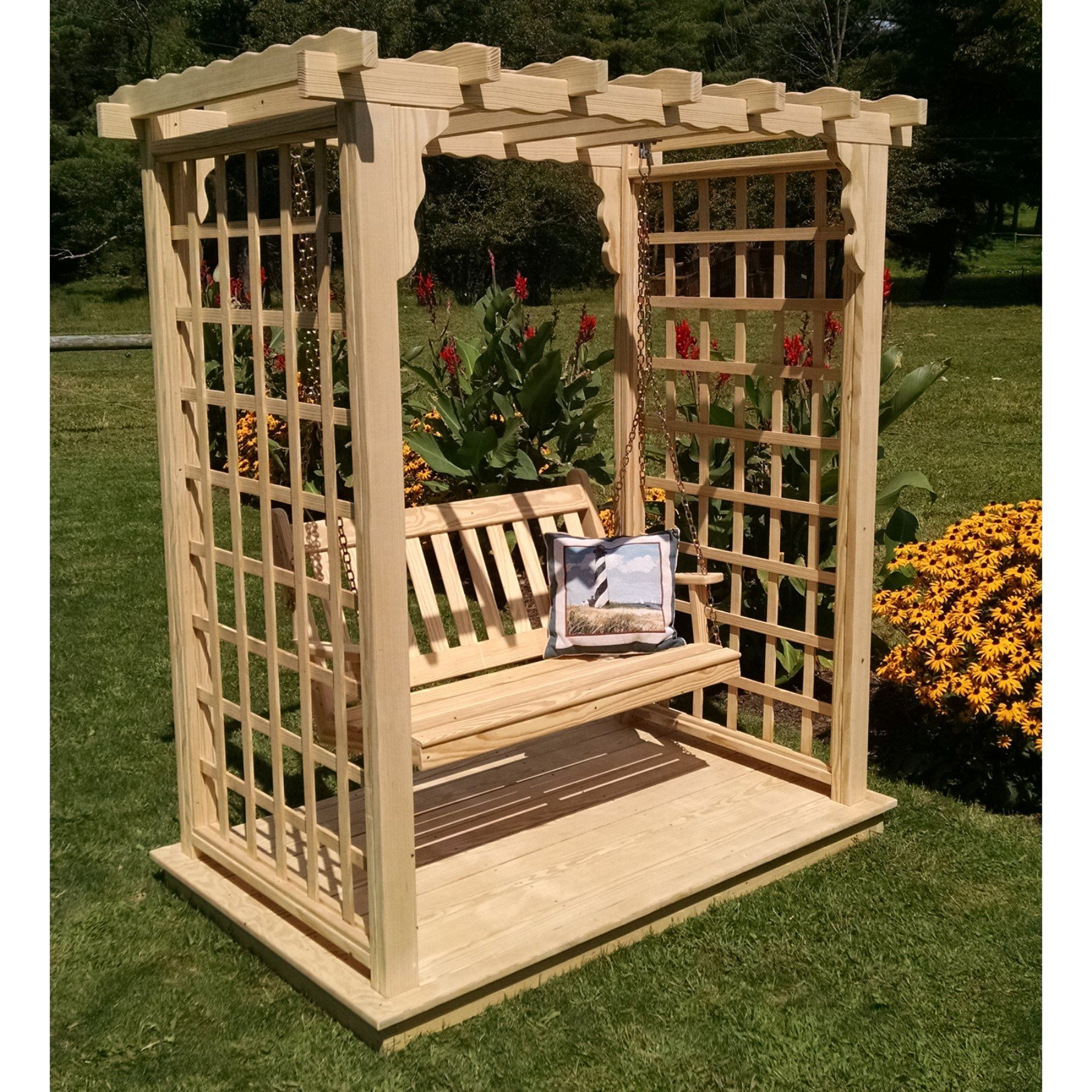 A u l furniture lexington ft high wood arbor with deck and