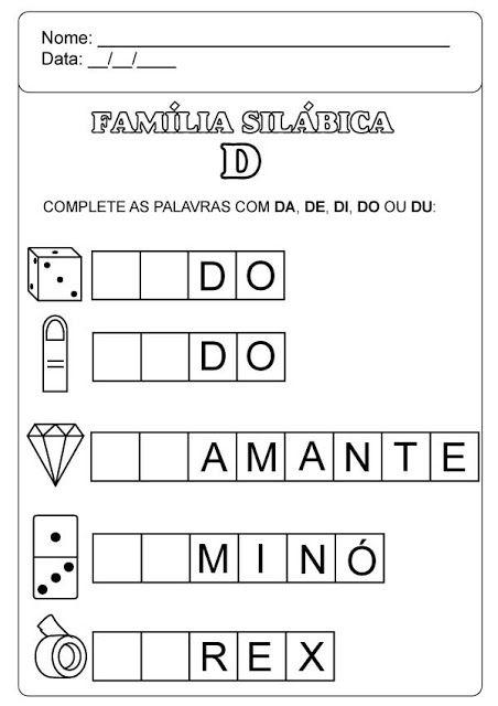 Familia Silabica D Em 2020 Atividades Alfabetizacao E Letramento