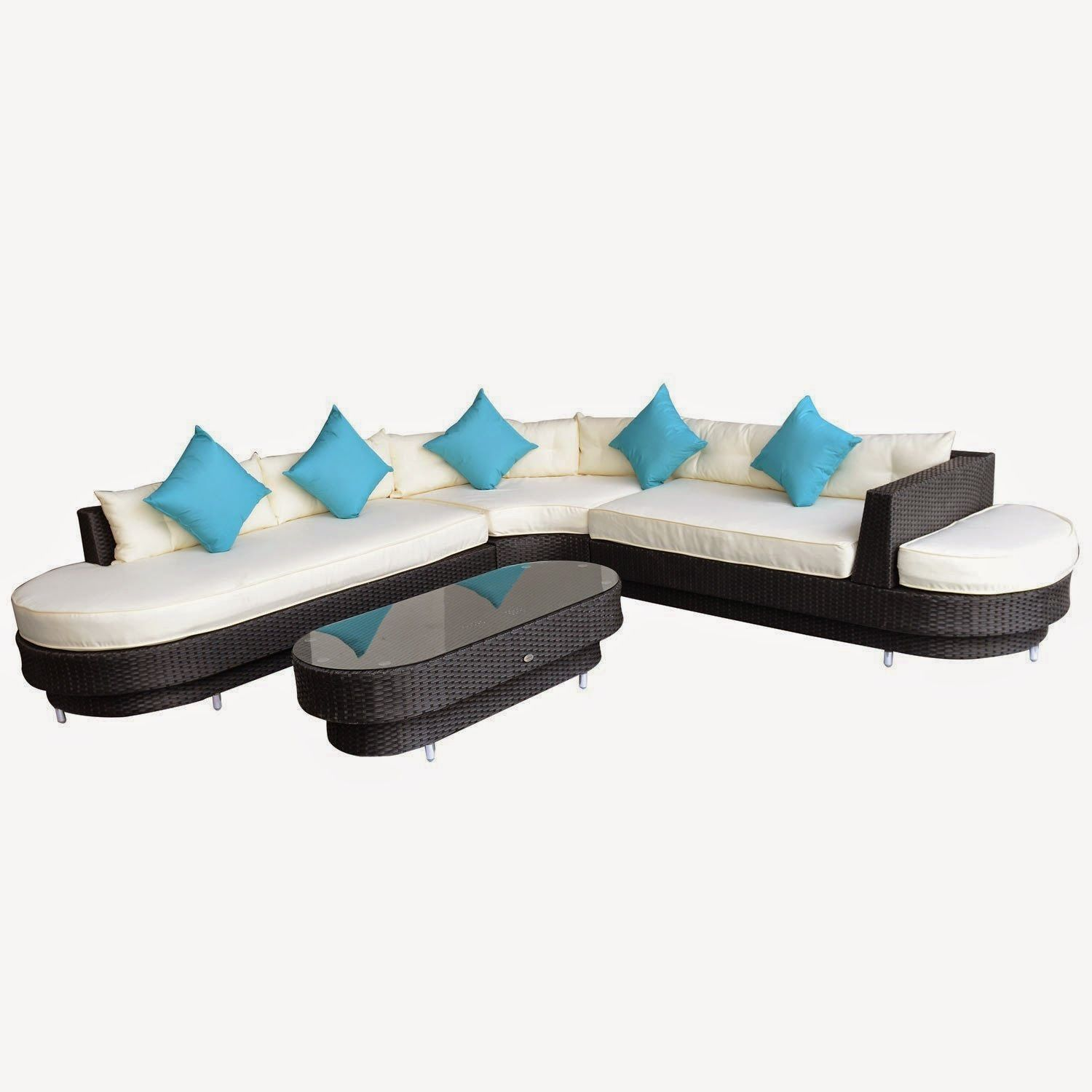 Outsunny 4 Pc Deluxe Outdoor Patio PE Rattan Wicker Oval Sofa Sectional  Furniture Set   Outdoor