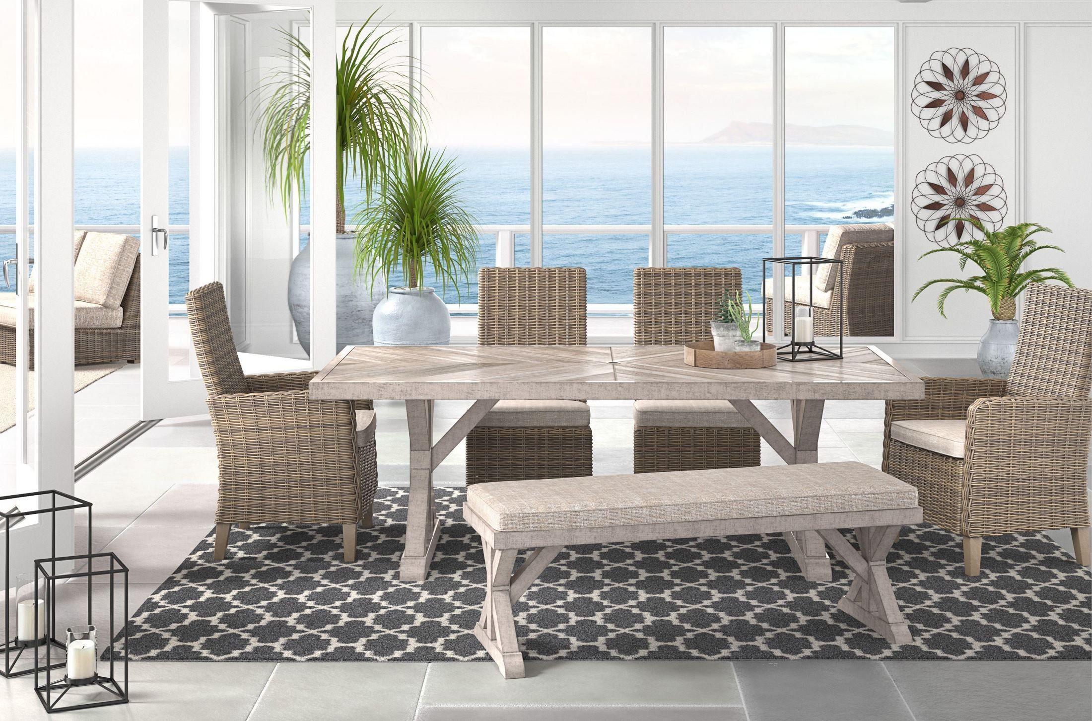 Beachcroft Beige Rectangular Dining Table   Buy outdoor ... on Beachcroft Beige Outdoor Living Room Set id=44720