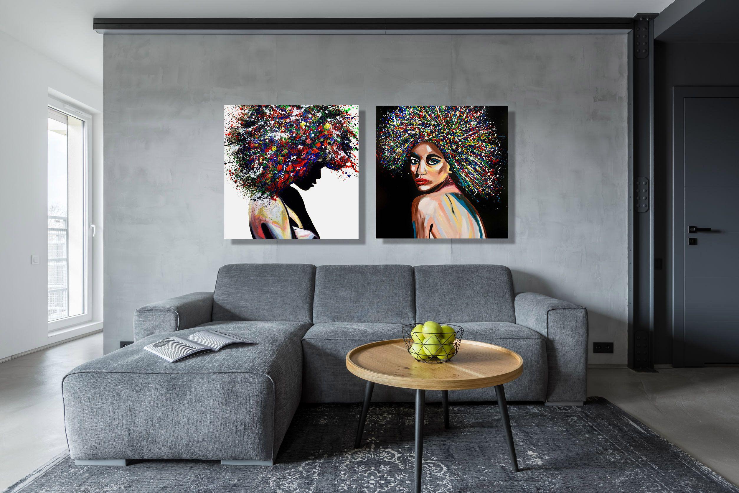 Set of 2 Prints wall art print Couples- Print on ROLLED canvas Pop Art