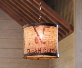 Coffee Sack Pendant Light With Images Diy Lighting Burlap