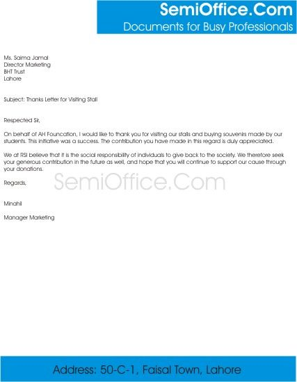 Thanks Letter For Visitors Free Download Donor Thank You Sample