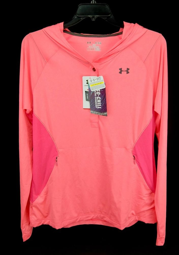 62575a5f5 Under Armour Hoodie ISO-Chill Meridian Lightweight Polyester 2 Tone Pink XL  #UnderArmour #ShirtsTops