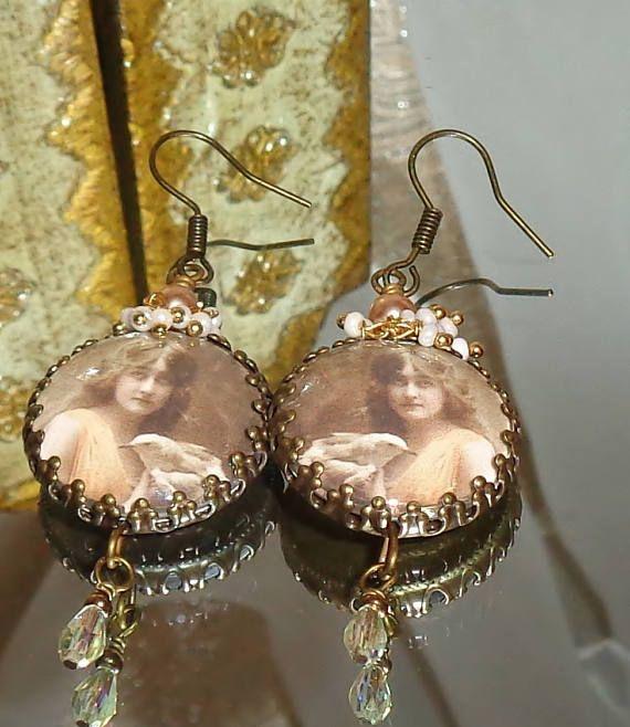 Gypsy and dove image bead charm vintage style earrings Pamelia