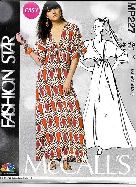 McCalls Caftan Sewing Pattern MP227/ M6552 EASY Fashion Star Maxi ...