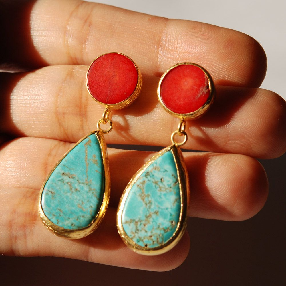 Turquoise and Coral Earrings made with sterling silver ...