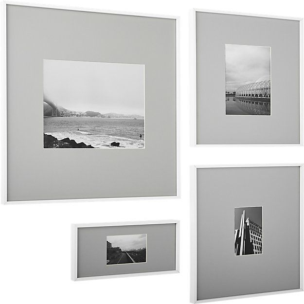 Shop Gallery White 8x10 Picture Frame With Grey Mat Exhibit Your
