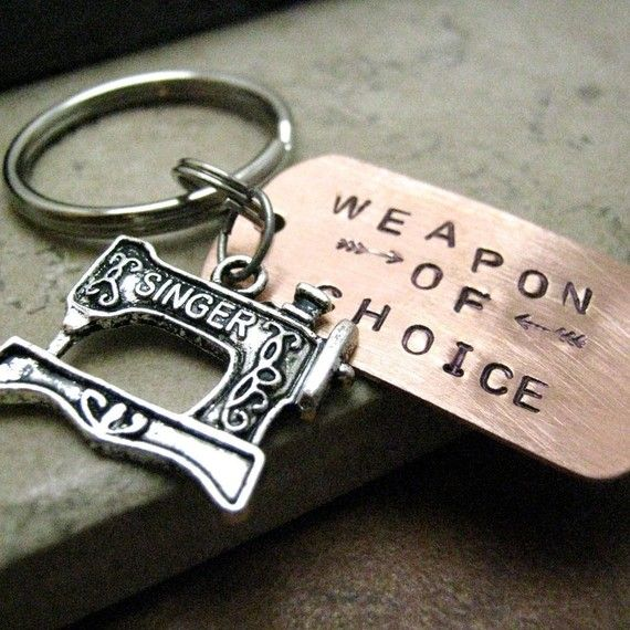 SEWING MACHINE Weapon of Choice Keychain alt charms by riskybeads,