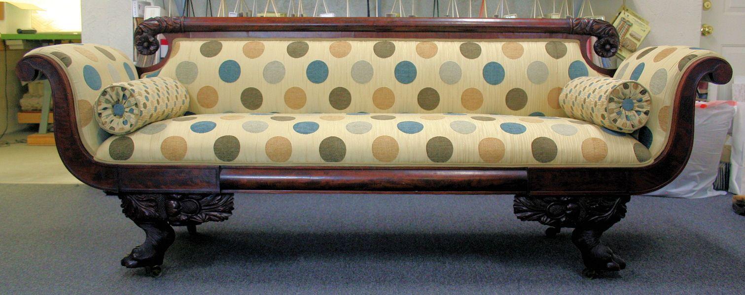 Antique Empire sofa, Modern fabric Artistic Upholstery LLC Albuquerque, NM  USA (505)884-8383 www.artisticupholstery.net - Antique Empire Sofa, Modern Fabric Artistic Upholstery LLC