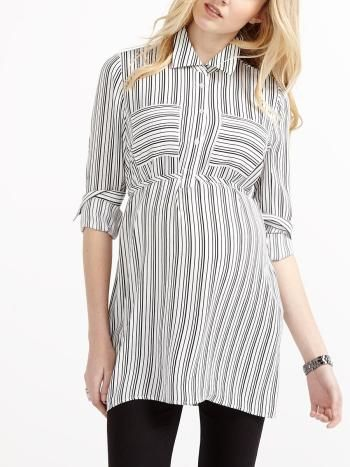 ac2b433548465 Stork & Babe - Long Sleeve Striped Maternity Shirt | Thyme Maternity ...
