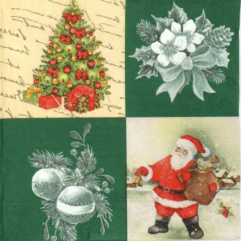 4x Paper Napkins for Decoupage Decopatch Craft Christmas Tree