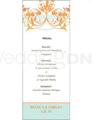 Wedding Buffet Menu Template Orange Chandelier Menus