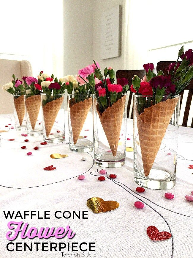 5 Minute Waffle Cone And Flower Galantine S Party Centerpieces Waffle Cones Party Centerpieces Ice Cream Flower