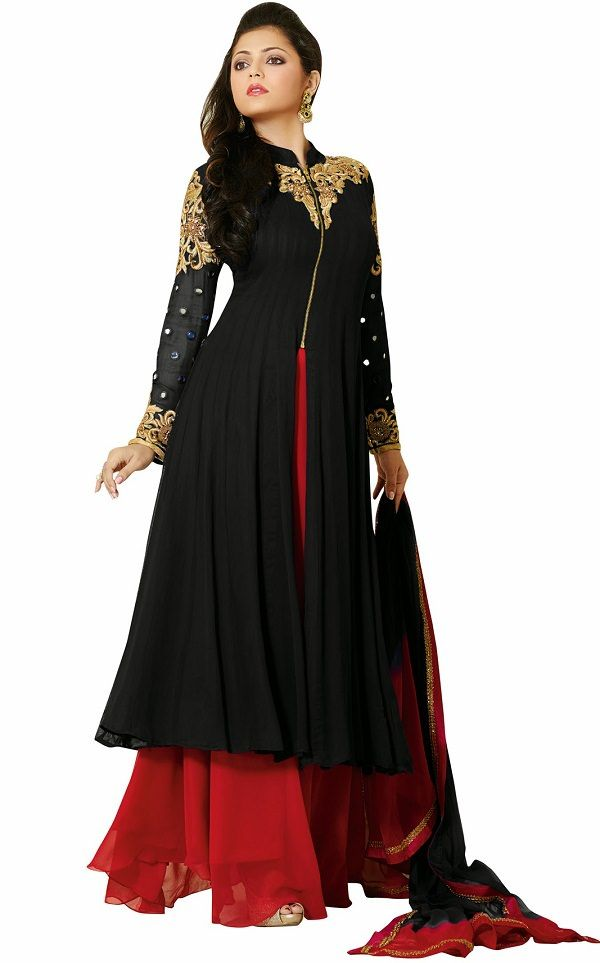 e9f1421a23 Drashti Dhami Black & Red Georgette Embroidered Semi-stitched Salwar Suit
