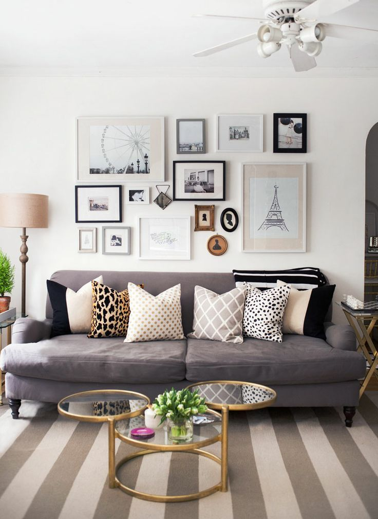 gold dot pillow gallery wall living room