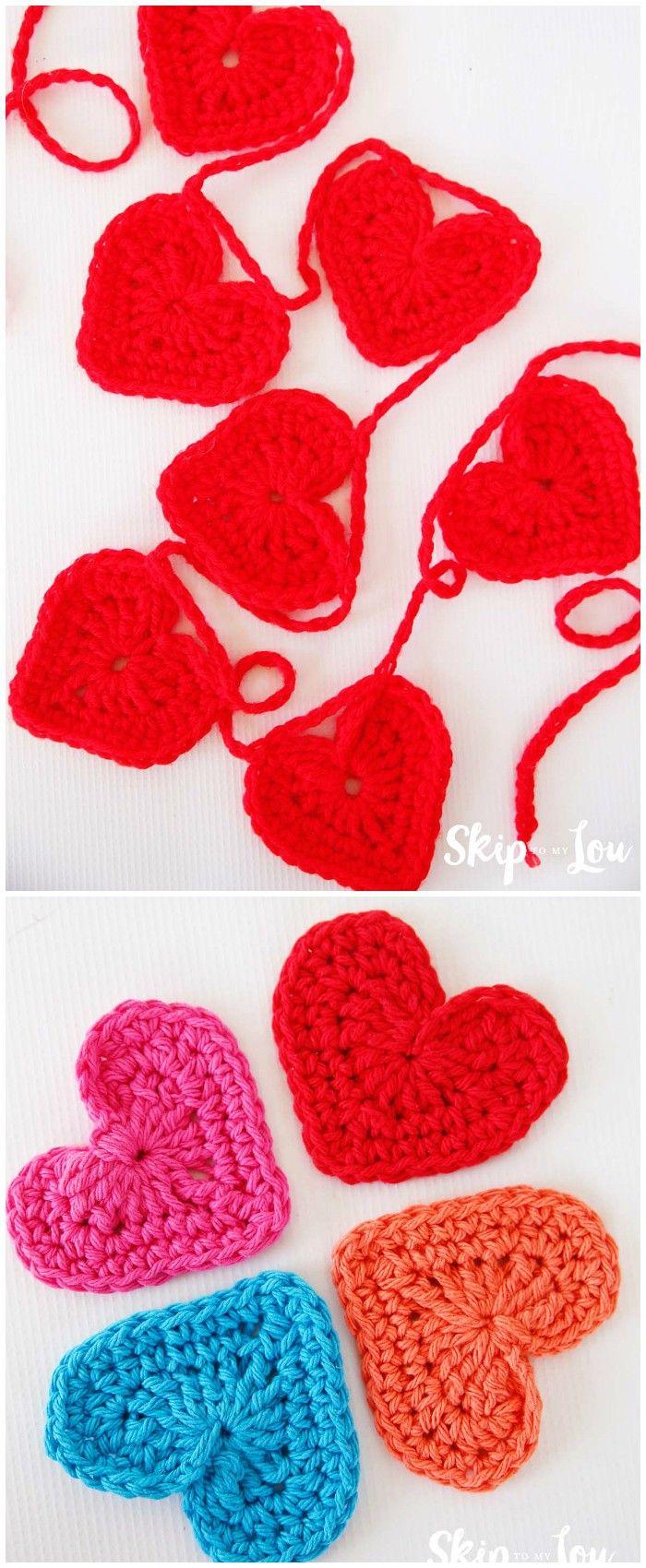 Easy Crochet Heart Garland Pattern   Crochet Valentine\'s day ...