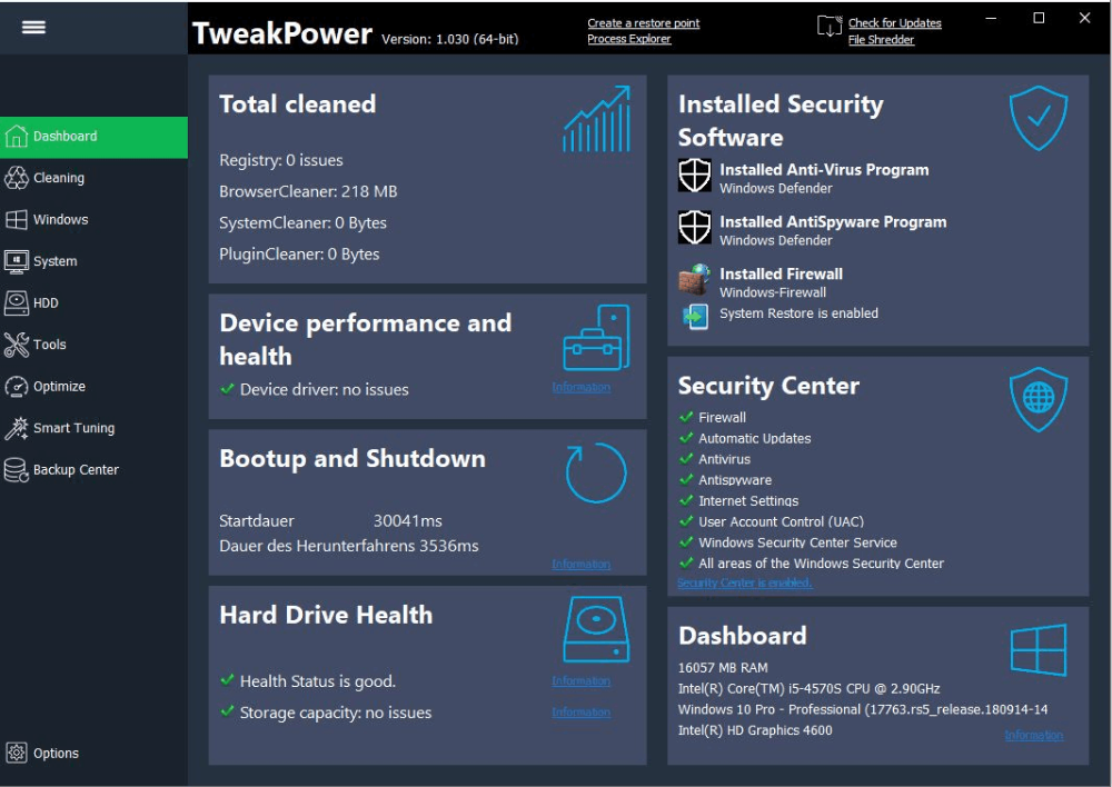 TweakPower An allinone tool to clean, backup, and