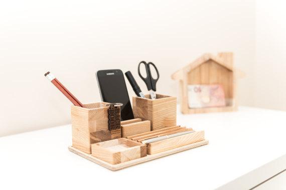 desk organizer wood desk gift desk organizer for him. Black Bedroom Furniture Sets. Home Design Ideas
