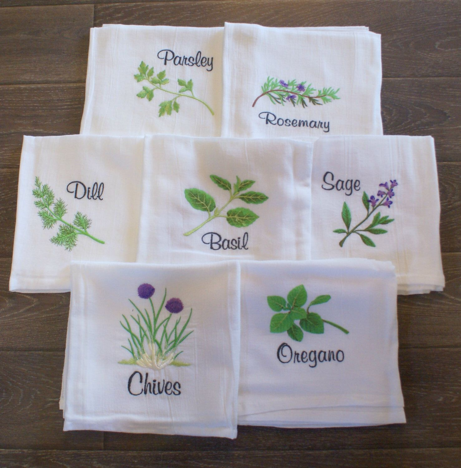 Kitchen Herbs 1 Dish Towels (Set of 7) - Made to Order #dishtowels