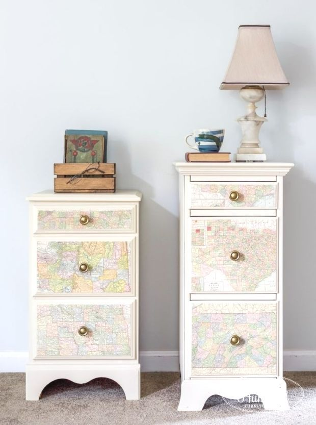 Linen Map Nightstands  Eight Hundred Furniture painted furniture repurposed furniture furniture makeovers diy furniture furniture restoration antiques home decor and more