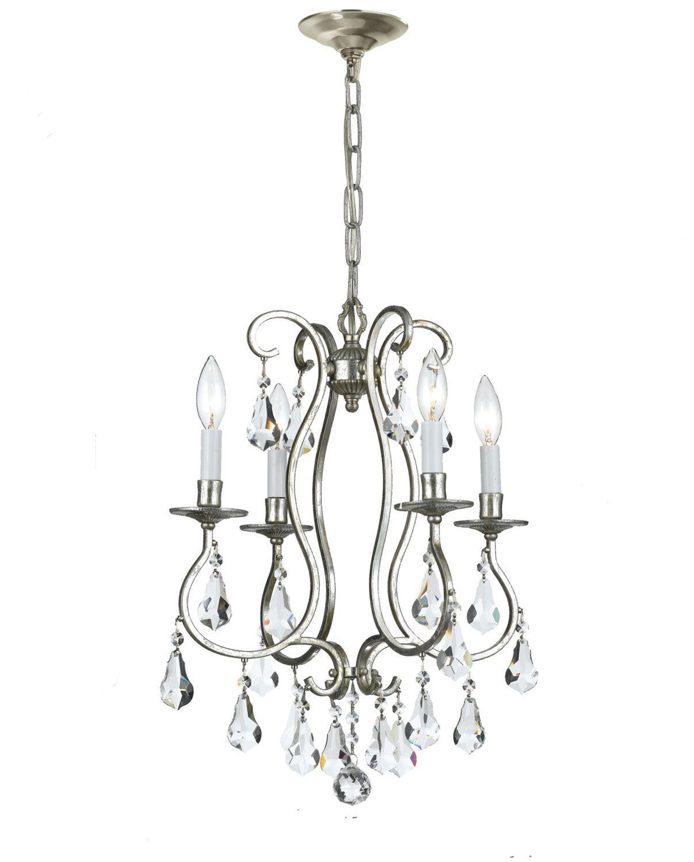 Four light mini chandeliers crystorama ashton olde silver