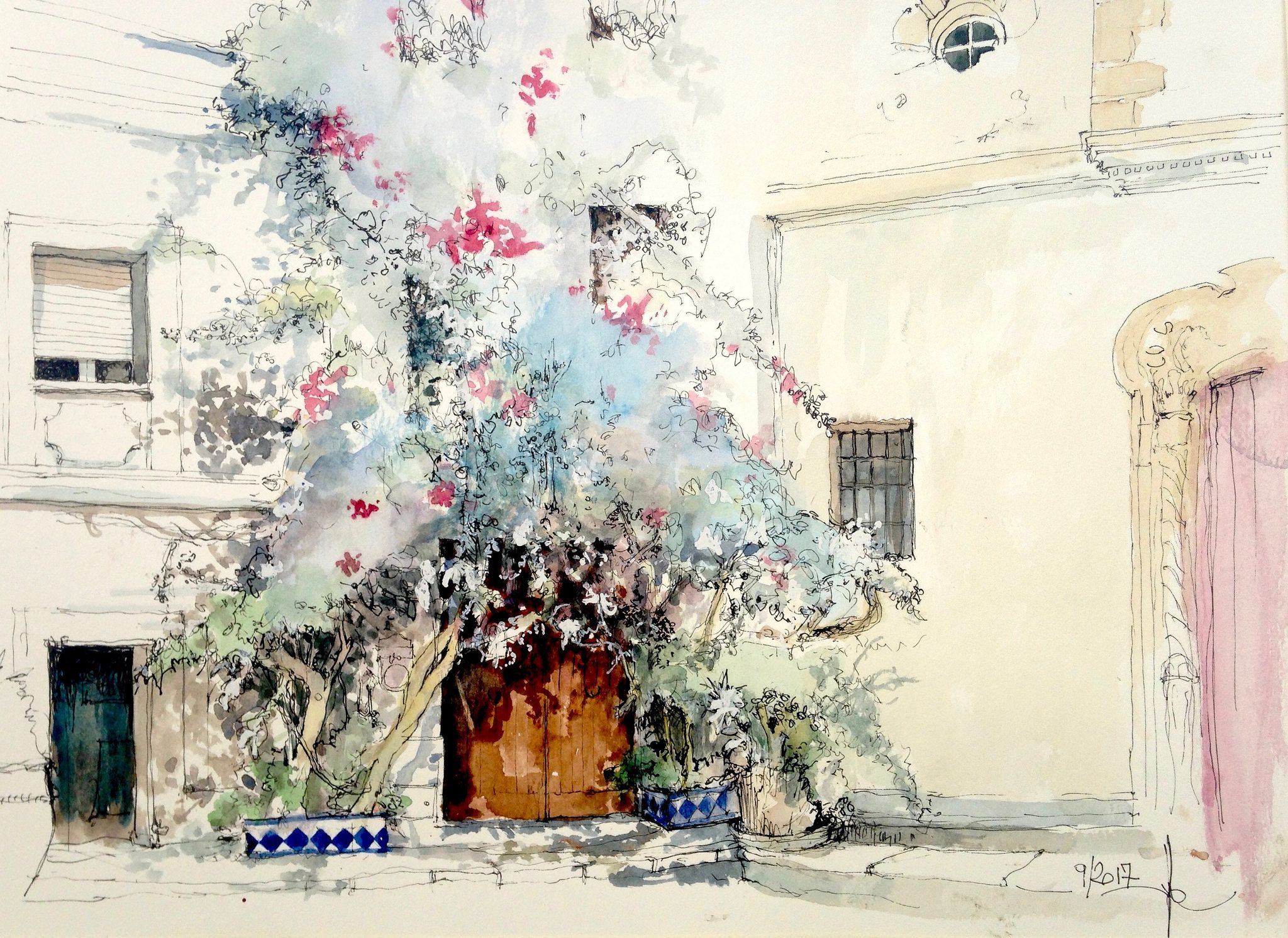 Tarifa Andalousie Architecture Sketchbook Watercolor Sketch