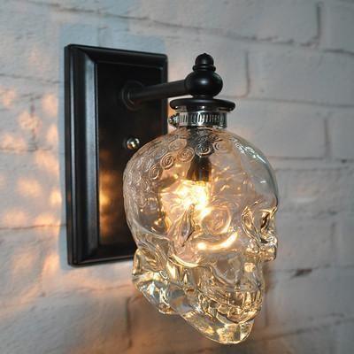 Creative Skull Bones Lamp Wall Sconce Light Fixtures Glass Wall Lamp Loft Decor