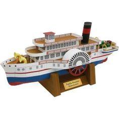 Steamer (Seitenraddampfer), vehicles, paper models, chimney, boat, steamboat