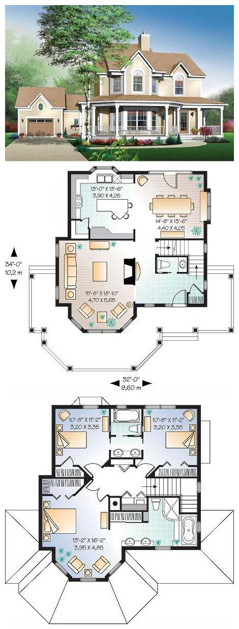 Country style house plan with three bedrooms