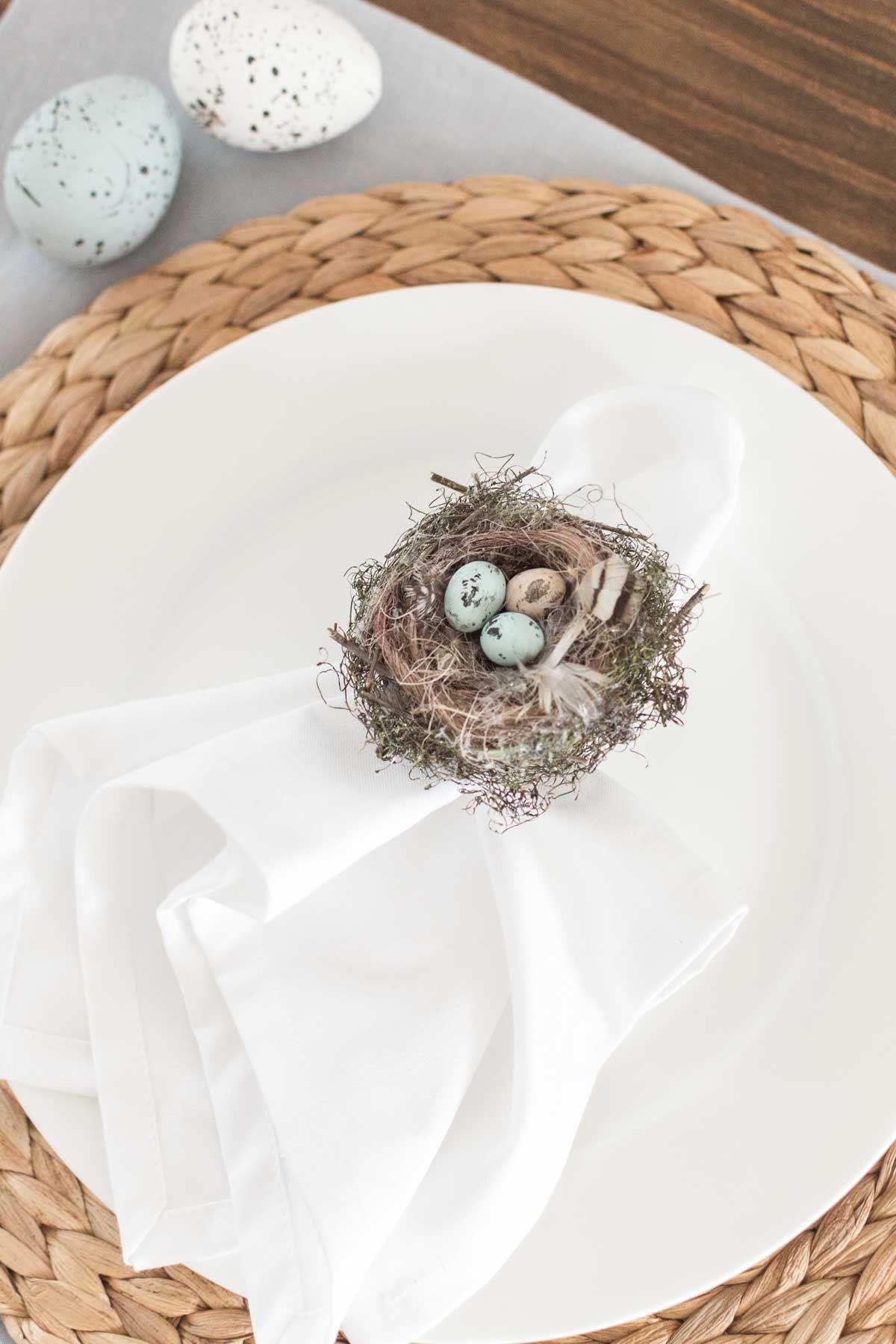 Pretty DIY bird's nest napkin rings for spring & Easter