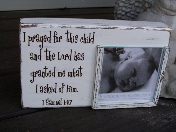 I prayed for this child picture frame holds 4x4 by KPATTONDESIGNS ...