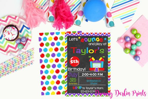 Printable Bounce House Party Invitation by DreamyDarlinPrints – Bounce Party Invitation