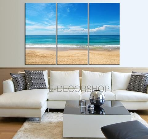 Canvas Print Beach And Sea Landscape 3 Panel Wall Art Print   Ready To Hang