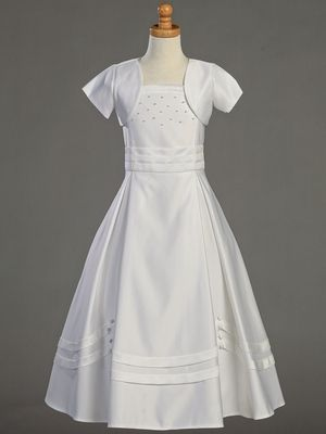 a83dc66d299 simple with pearl accents and bolero Confirmation Dresses