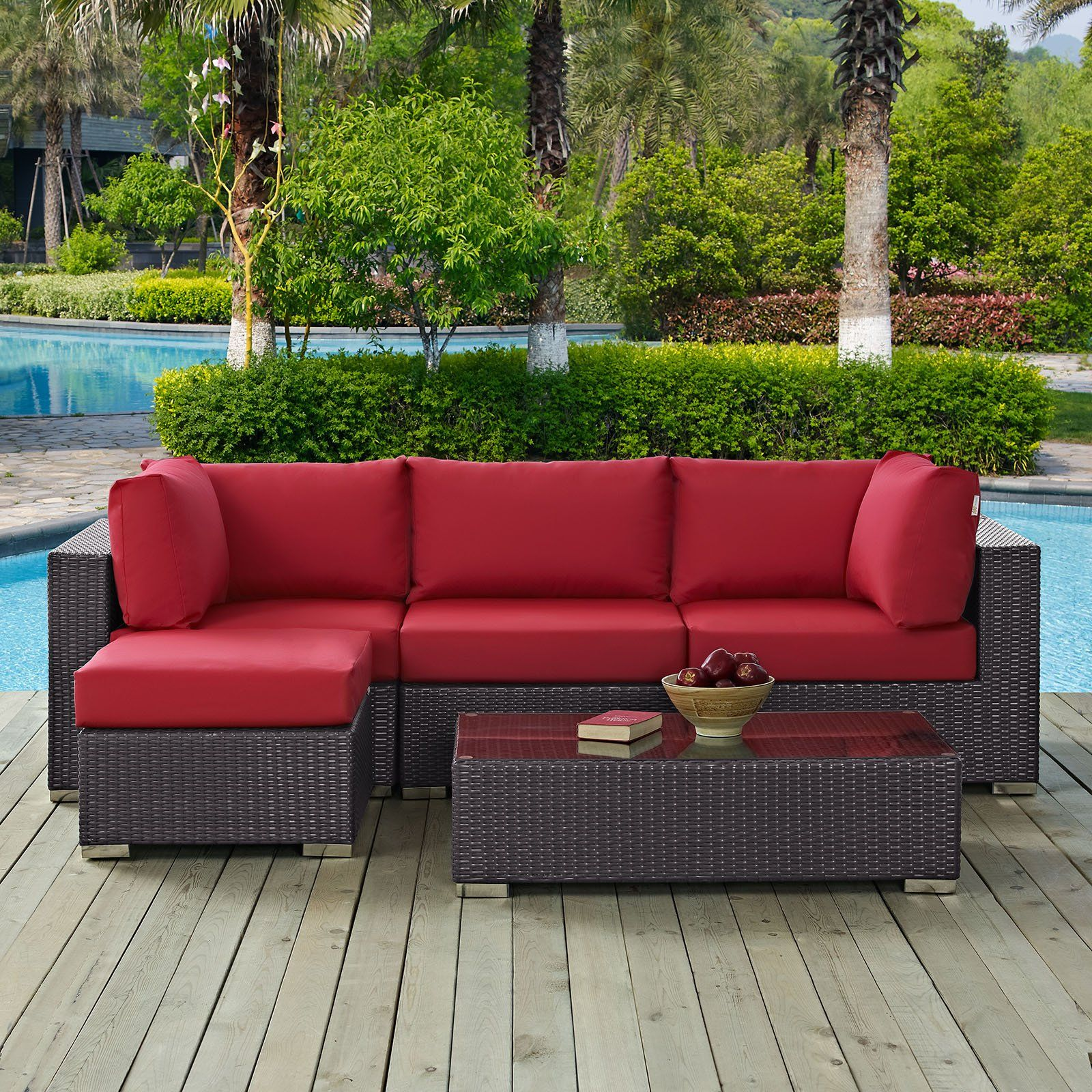Modway Furniture Modern Convene 5 Piece Outdoor Patio Sectional Set Eei 2172 With Images Outdoor Seating Set Modern Outdoor Furniture Outdoor Patio