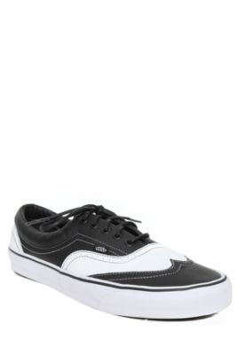6f56c28baad Vans White And Black Leather Era Wingtip Lace-Up Sneakers