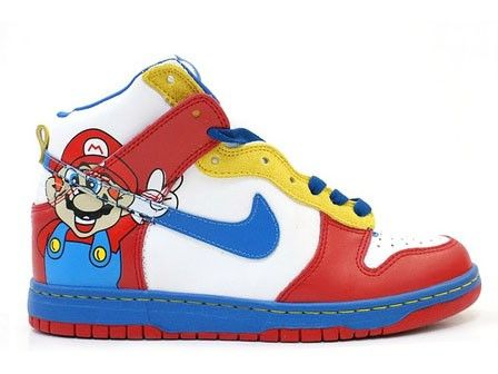 buy online c75f3 19269 Super Mario Nikes Cartoon Dunks High Tops For Sale | Cartoon ...