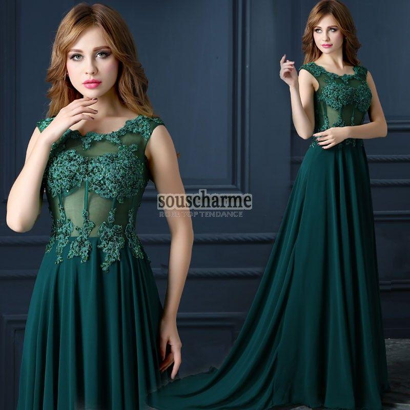 robe de soir e longue verte pas cher en mousseline d collet rond corset transparent broderie