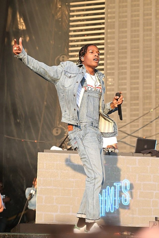 ASAP Rocky wearing Adidas x Raf Simons Stan Smith Leather Sneakers, Guess x  A$