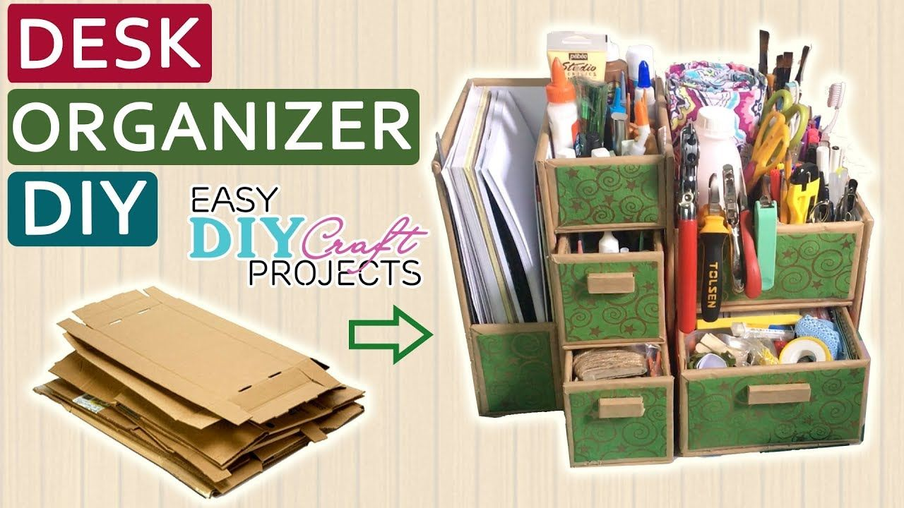 Diy Cardboard Desk Organizer How To Make Desk Organizer From