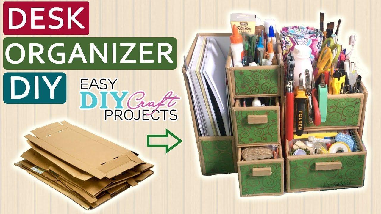 Diy Cardboard Desk Organizer How To Make Desk Organizer From Cardboard Easy Diy Craft Projects Diy Cardboard Diy Projects Using Pallets Cardboard Organizer