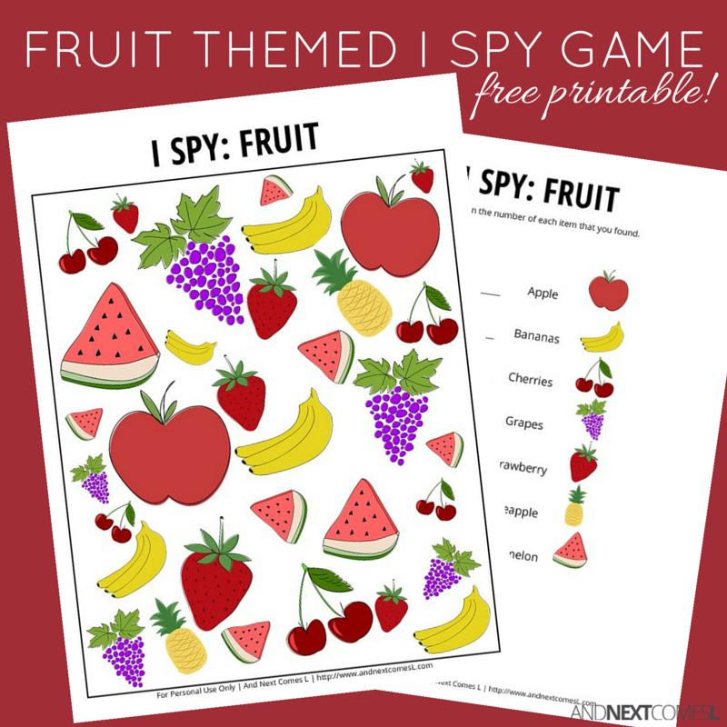 fruit themed i spy game free printable for kids