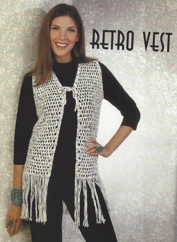 Crochet Retro Fringe Vest Pattern Womens Boho Vest Crochet Pattern