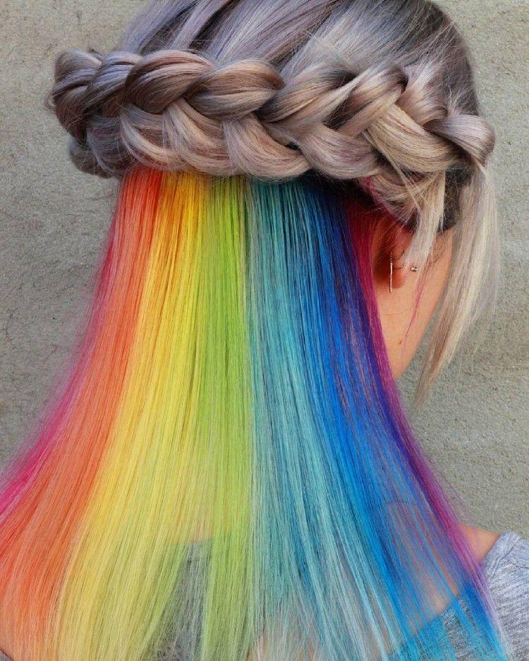 Versteckte Regenbogen Haare Hidden Rainbow Trend Styling Idee Haarfarben Trend Haarfarben Frisur Langes Gesicht