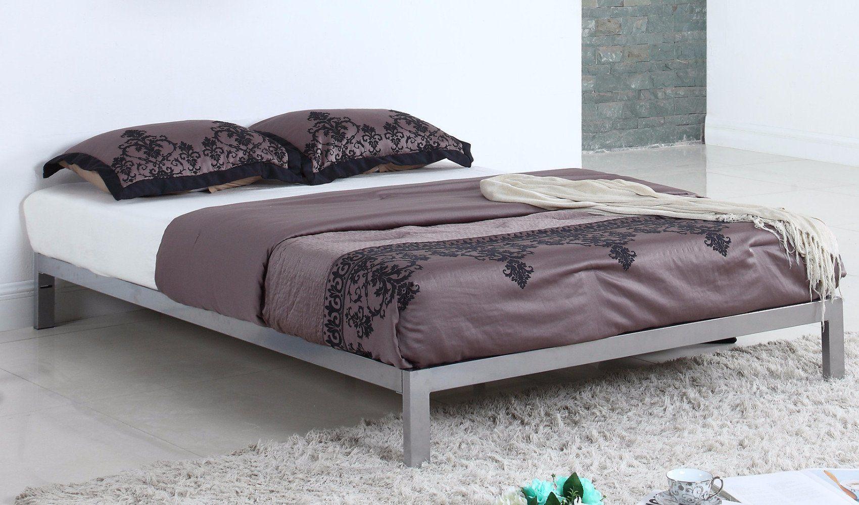 Best Ghana Modern Metal Platform Bed Frame In Silver Lifestyle 400 x 300