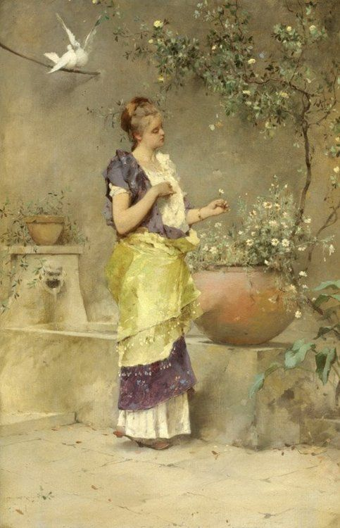 Emile Auguste Pinchart (French, 1842-1924) ~ 'Roman Beauty' ~ The Garden Of Doves