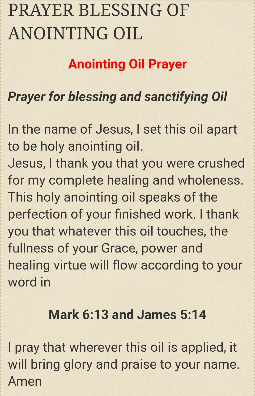 Prayer for Blessing Oil | Anointing oil prayer, Names of ...