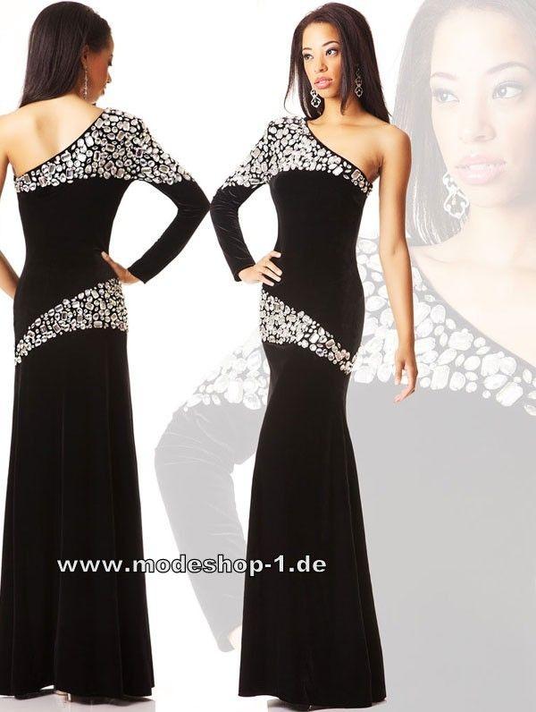 Promi Kleid Abendkleid Lang in Schwarz www.modeshop-1.de ...