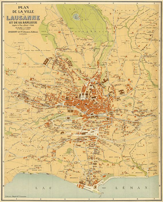Vintage map of Lausanne Old map archival print Large wall map